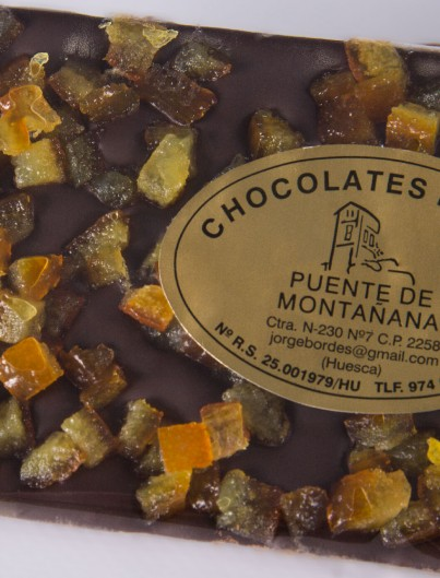 Tableta Chocolate Negro con Naranja de Chocolates Pallás