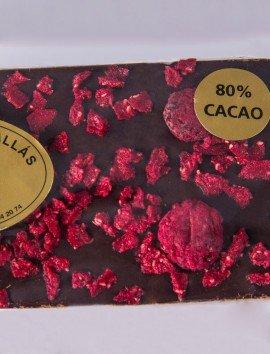 Tableta Chocolate 80% con Frambuesa de Chocolates Pallás